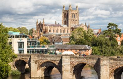 Herefordshire's most picturesque market towns: Hereford, Ross-on-Wye, Hay-on-Wye, Ledbury, Leominster, Kington, Bromyard. England Britain United Kingdom travel guide.