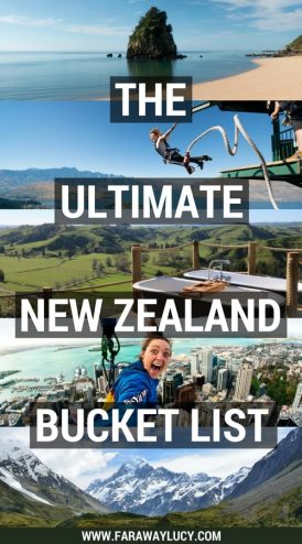 The Ultimate New Zealand Bucket List: 50 awesome experiences that you won't want to miss out on in New Zealand, both on the South Island and North Island from sightseeing and wine tasting to skydiving and bungy jumping! Some of my recommendations include Hobbiton, Milford Sound, Waitomo Caves, Lake Tekapo, the Tongariro Alpine Crossing, hiking Franz Josef Glacier, visiting White Island, visiting Hot Water Beach, Aoraki/Mount Cook, zorbing in Rotorua, visiting Cathedral Cove, doing a Lord of the Rings Tour and visiting the cities of Auckland, Wellington, Queenstown, Dunedin, Hamilton and Christchurch