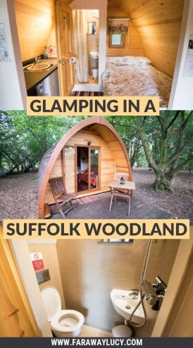 Glamping in a Suffolk Woodland at West Stow Pods. West Stow. Culford. Bury St Edmunds. Suffolk. Cambridge. Cambridgeshire. Anglo Saxon Village and Lakes. Mega Pod. Quirky, unique accommodation. Click through to read more...