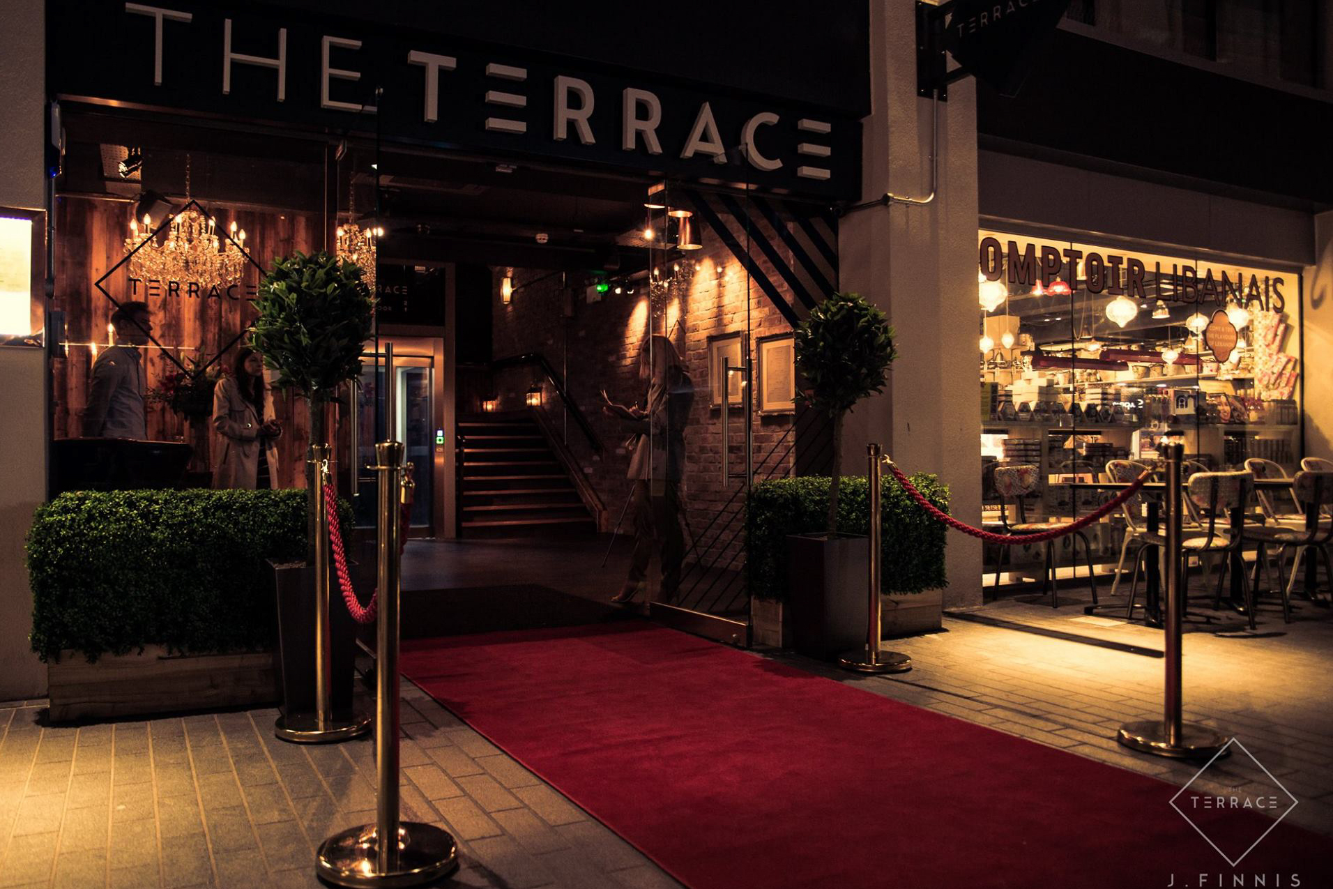 The Terrace classy restaurant and rooftop bar red carpet Exeter Restaurants