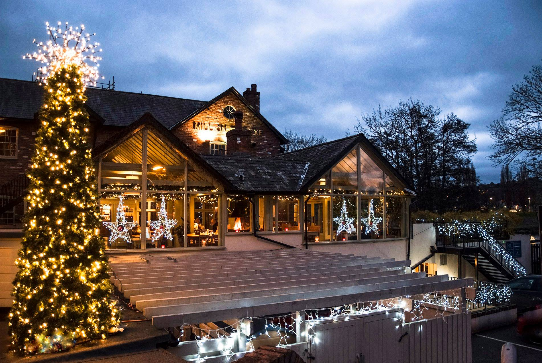 Mill on the Exe christmas restaurant christmas tree fairy lights Exeter Restaurants
