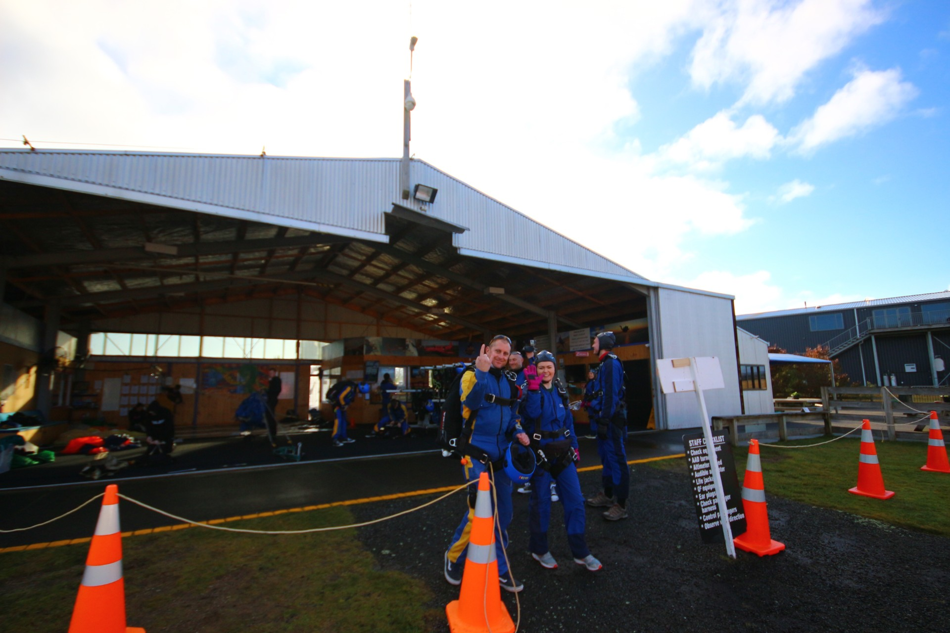 Skydive gear orange cones building farm Skydive Taupo The Best Skydiving in New Zealand