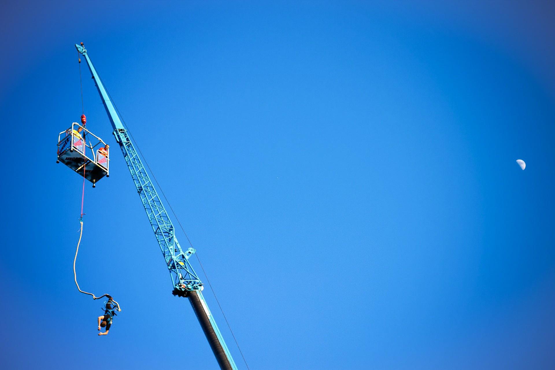 Crane bungee jump jumping sky adrenaline adventure sports England UK travel goals