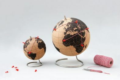 Suck UK cork globe red pins red string travel globe homeware interior design 15 Romantic Travel Gift Ideas for Valentine's Day