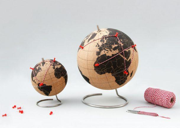 Suck UK cork globe red pins red string travel globe homeware interior design 15 Romantic Travel Gift Ideas for Valentine's Day