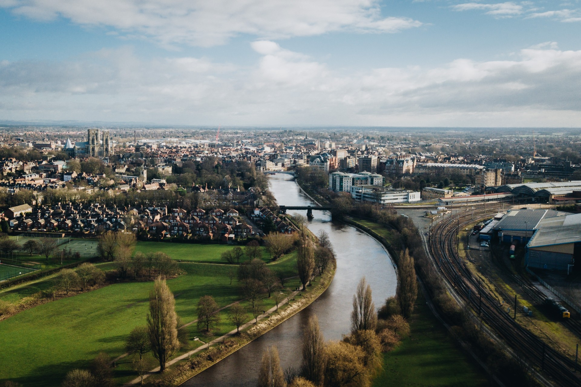 Historic city skyline river houses sky fields York Yorkshire England UK travel goals