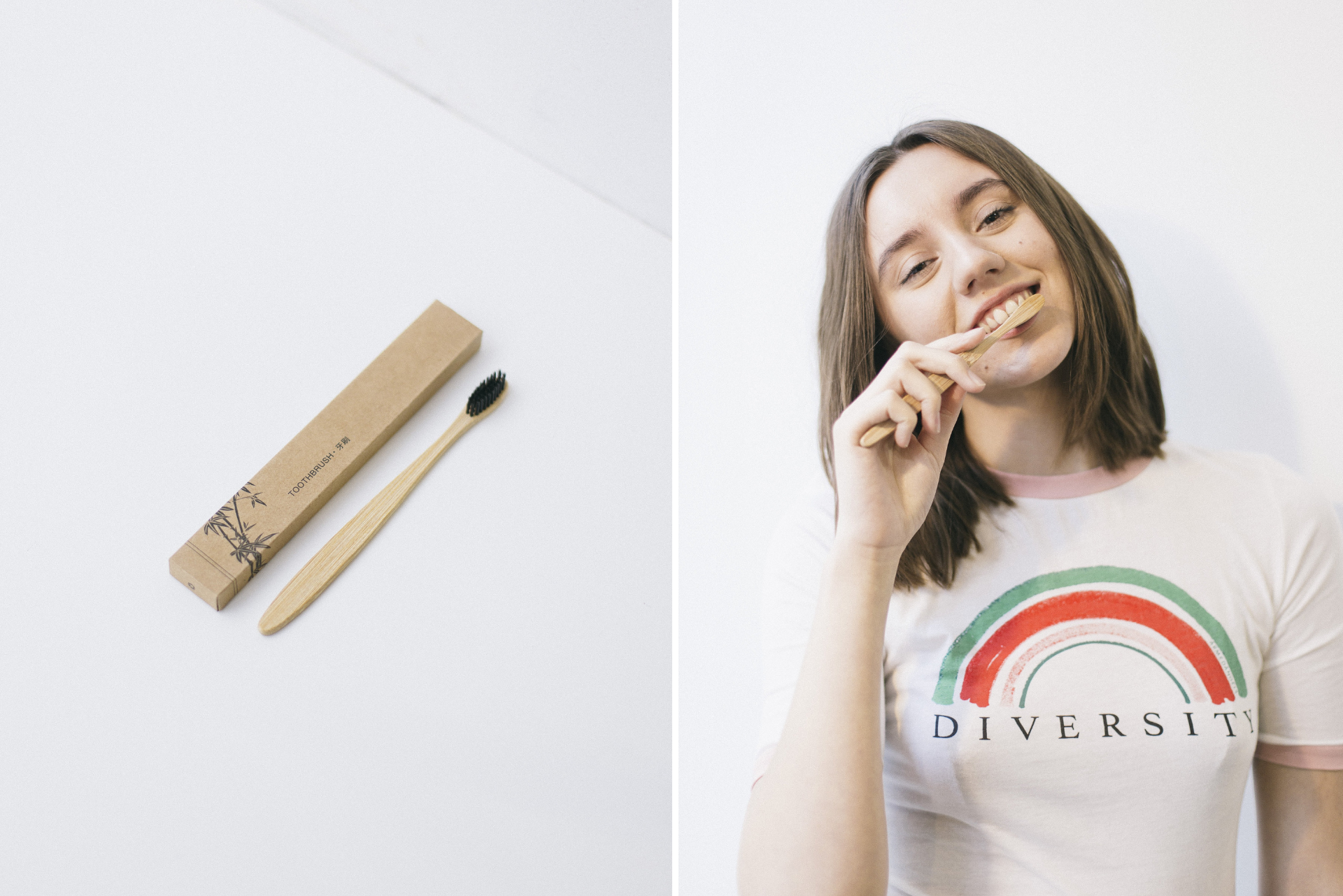 Bamboo toothbrush. Plastic-free toothbrush. Eco-friendly toothbrush. White girl with brown hair brushing teeth and smiling wearing a rainbow Diversity tee.