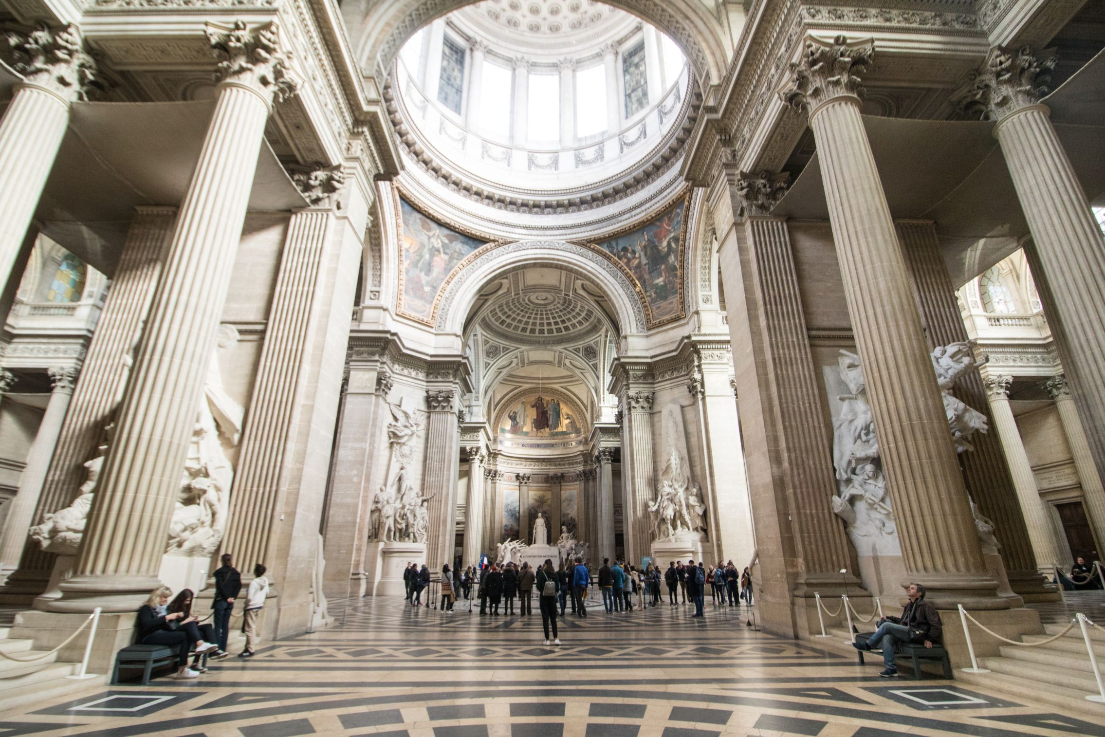 Pantheon Paris. The interior of a historic church building with a dome in the Latin Quarter.