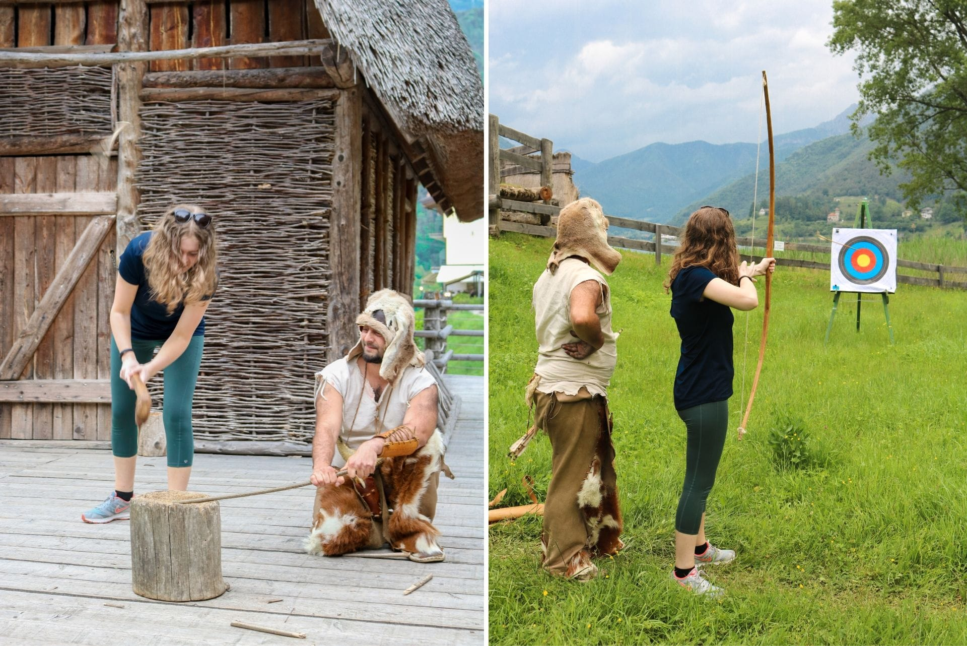 girl-chopping-wood-and-doing-archery-at-museo-delle-palafitte