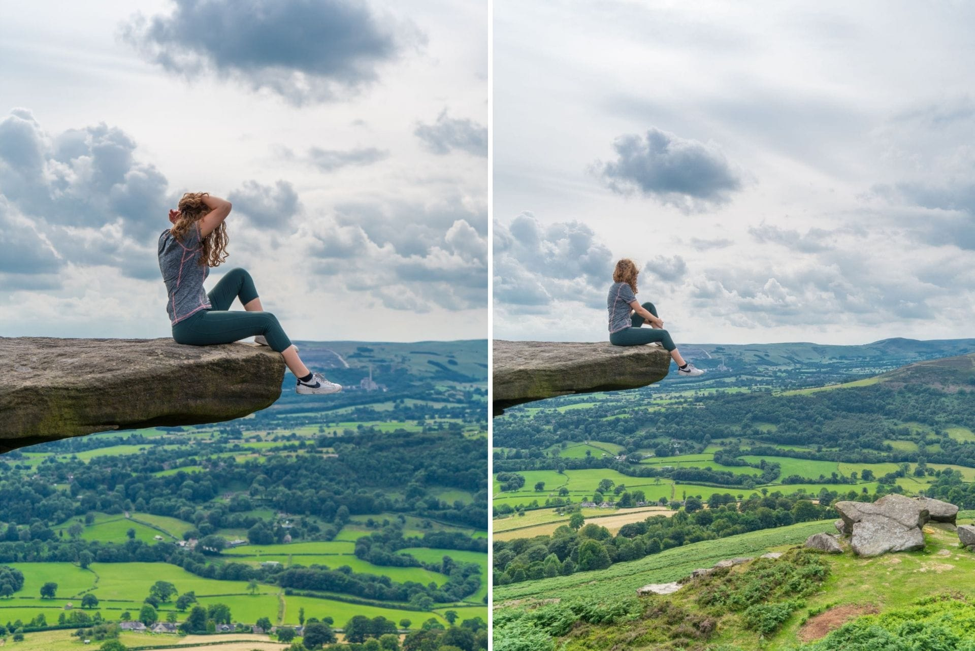 woman-wearing-sportsgear-sat-on-the-edge-of-a-dangerous-rock-overlooking-green-rolling-hills-at-bamford-edge-in-the-peak-district