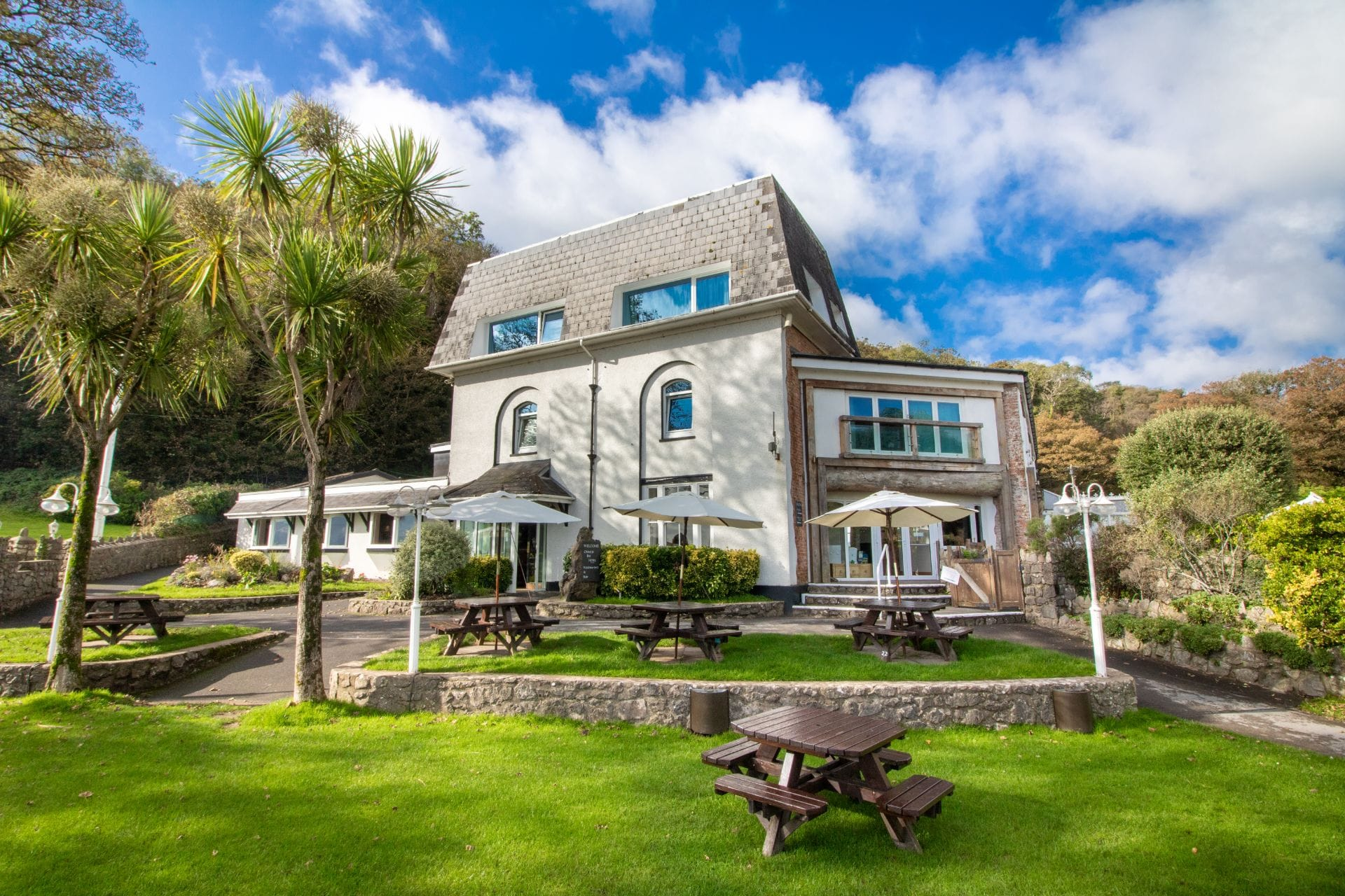 pub-garden-with-tables-and-palm-trees-in-front-of-hotel-in-summer-oxwich-bay-hotel