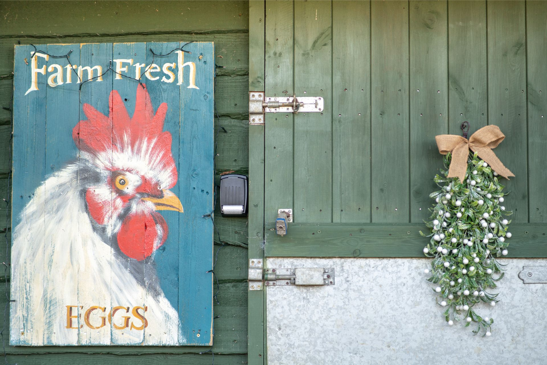 a-vintage-farm-fresh-eggs-hen-print-against-a-stable-door-in-a-farm-at-christmas