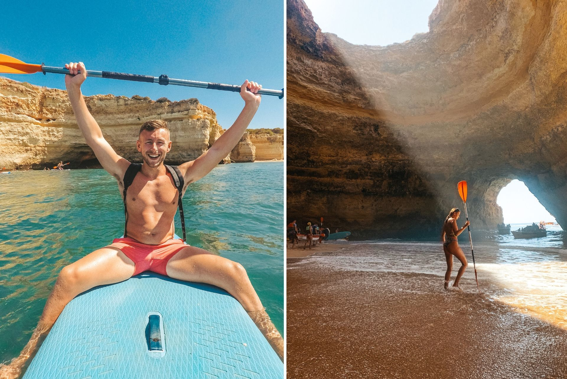 man-sitting-on-paddleboard-on-turquoise-waters-holding-paddle-in-the-air-and-girl-in-beach-inside-cave-holding-paddle