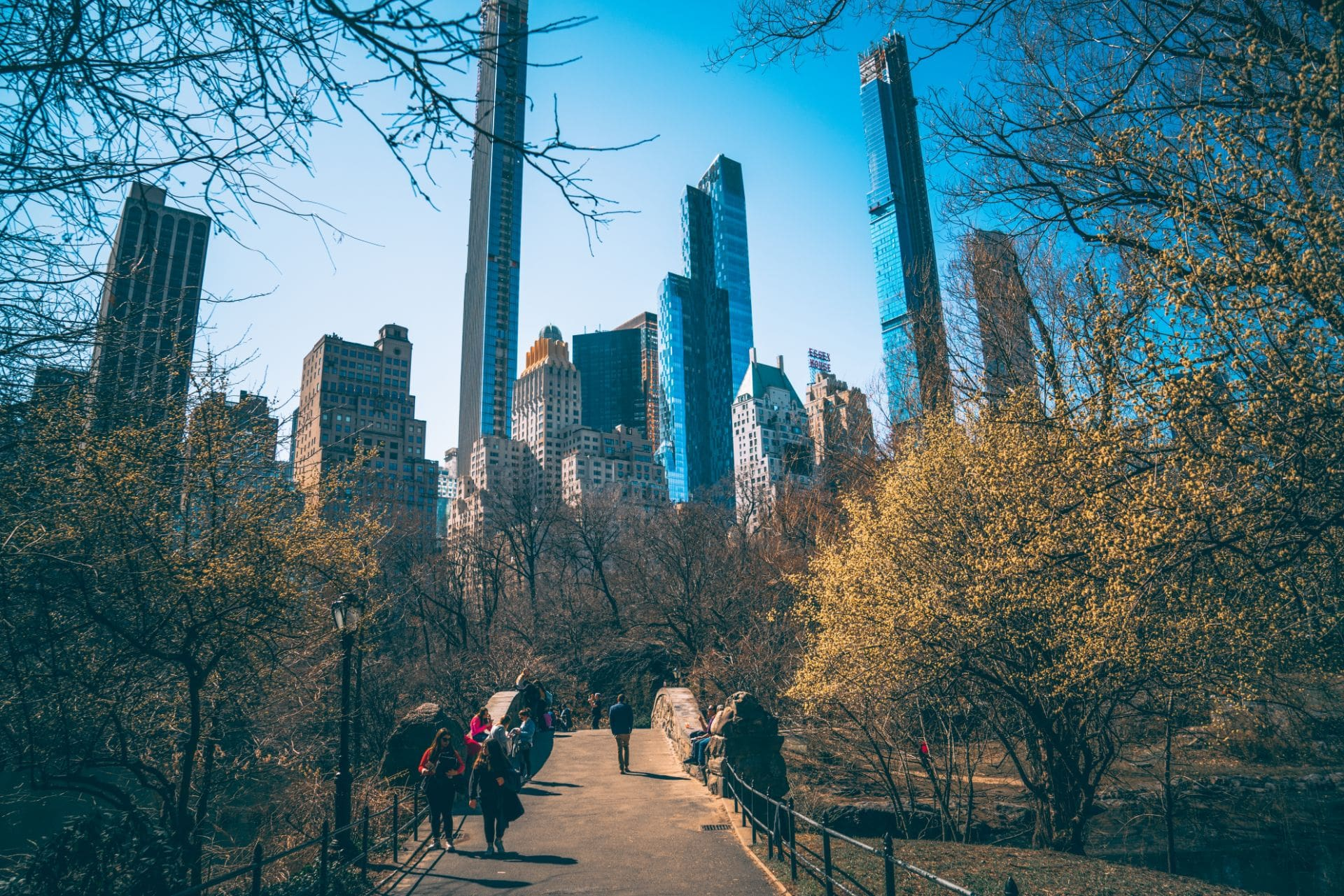 people-walking-across-bridge-in-central-park-new-york-on-a-summers-day-with-skyscrapers-in-the-background-new-york-in-4-days