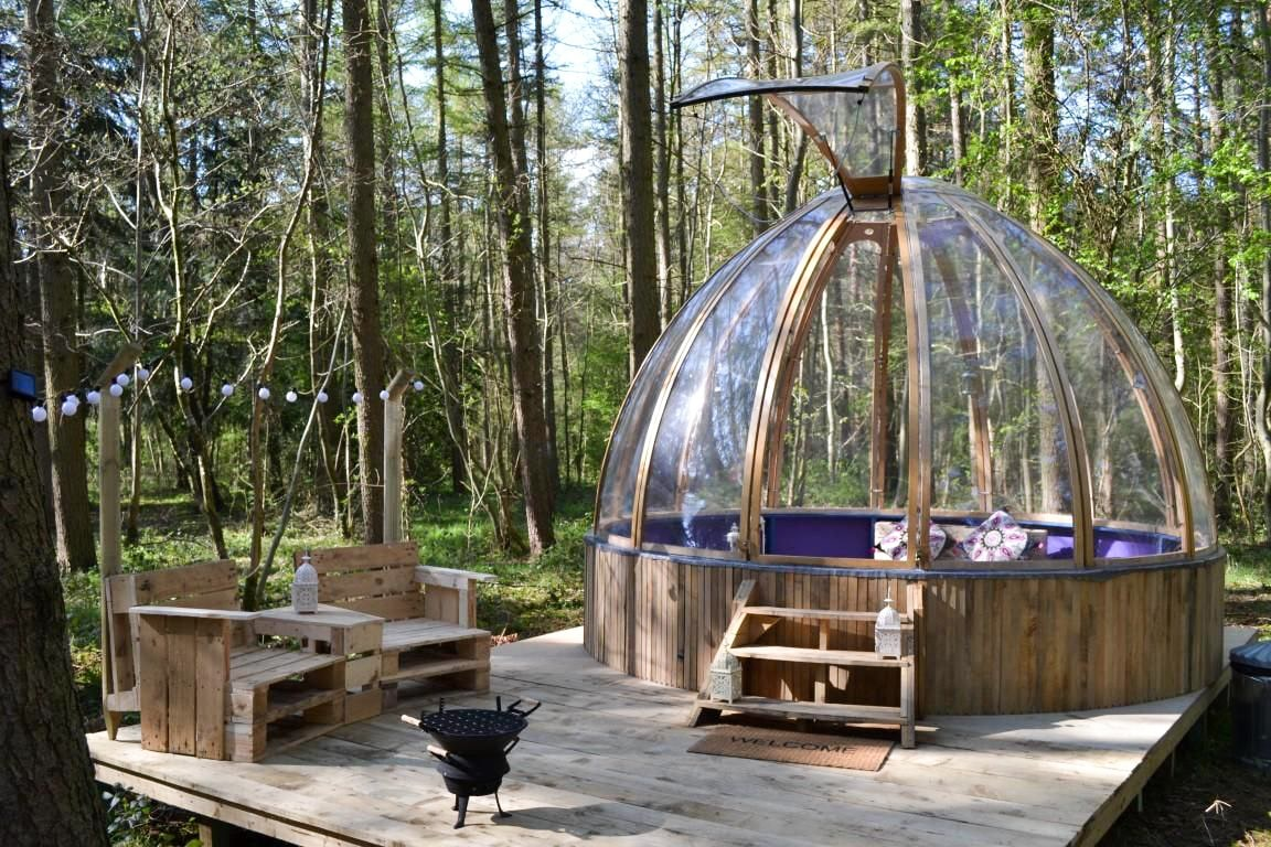 camp-katur-woodland-hide-uni-dome-transparent-glamping-dome-on-wooden-platform-in-forest-in-bedale