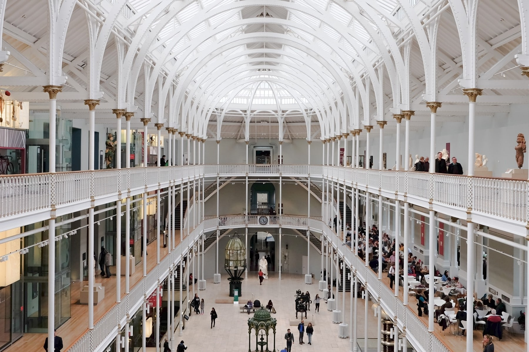 people-walking-around-white-domed-museum-national-museum-of-scotland