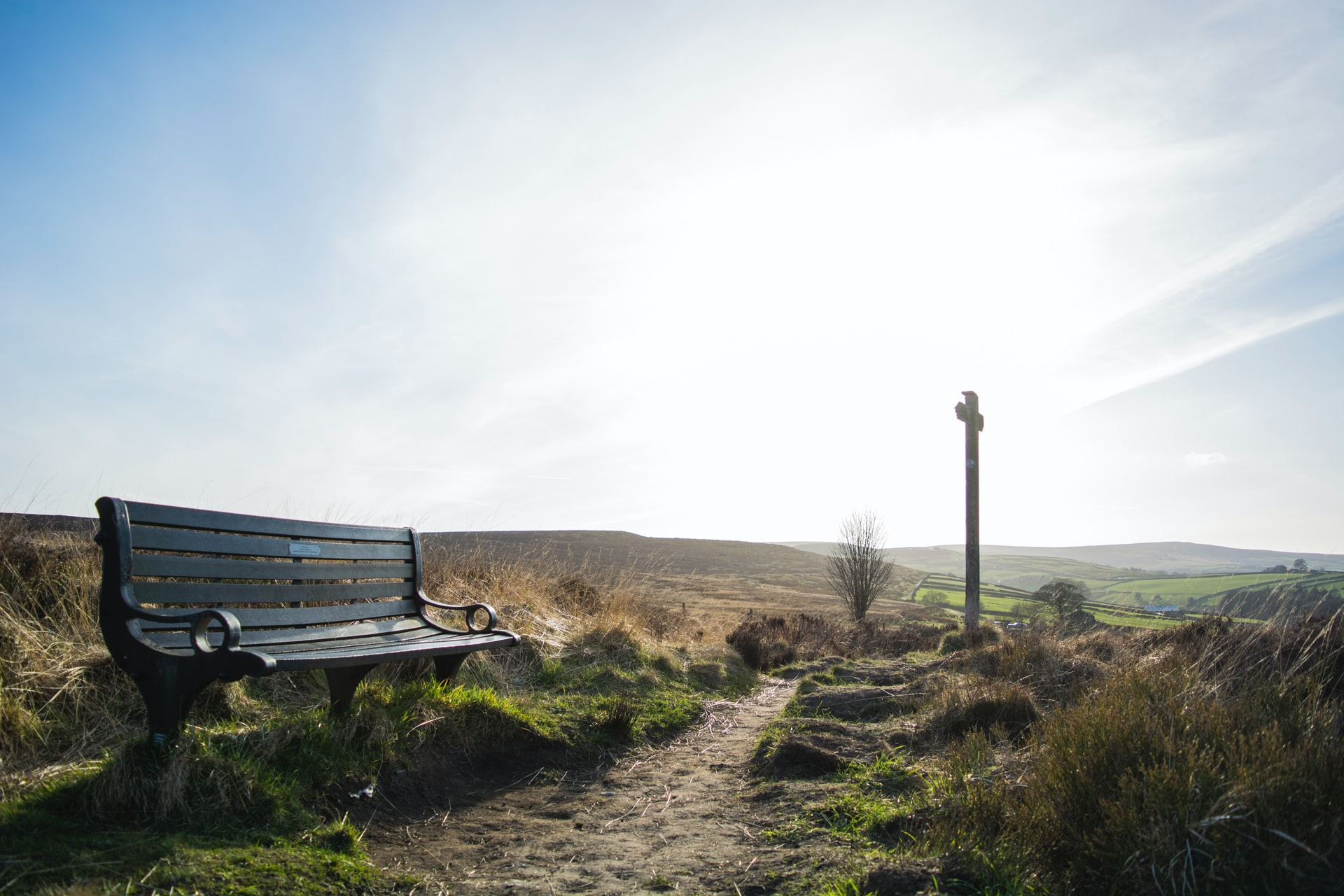 bench-and-signpost-on-vast-moor-in-bronte-country-haworth