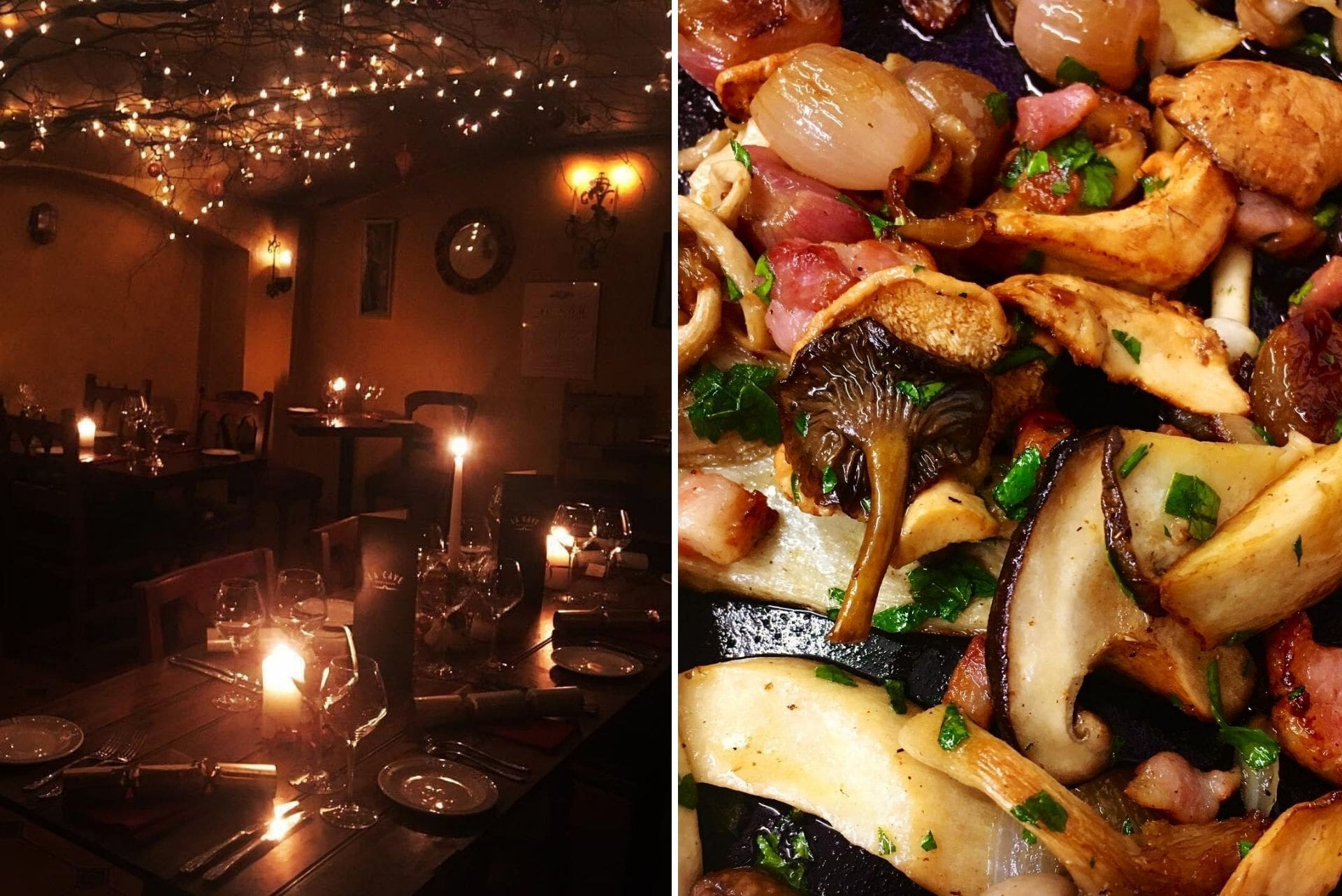 food-and-interior-of-la-cave-wine-bar-and-brassiere-light-up-at-night-by-fairy-lights-falmouth