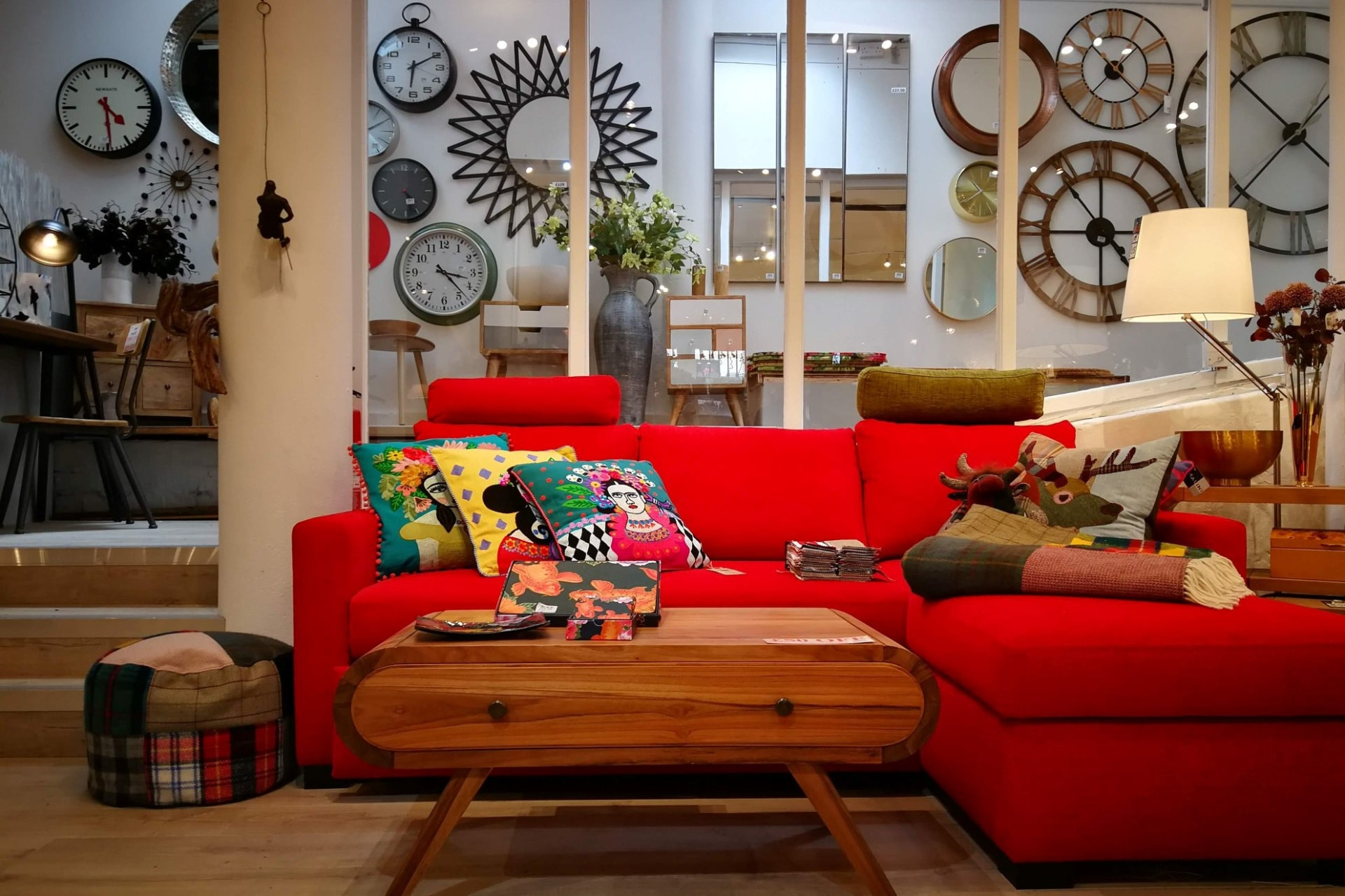 furniture-and-decor-shop-interior-with-red-sofa-and-lots-of-clocks-the-nancy-smillie-shop-byres-road