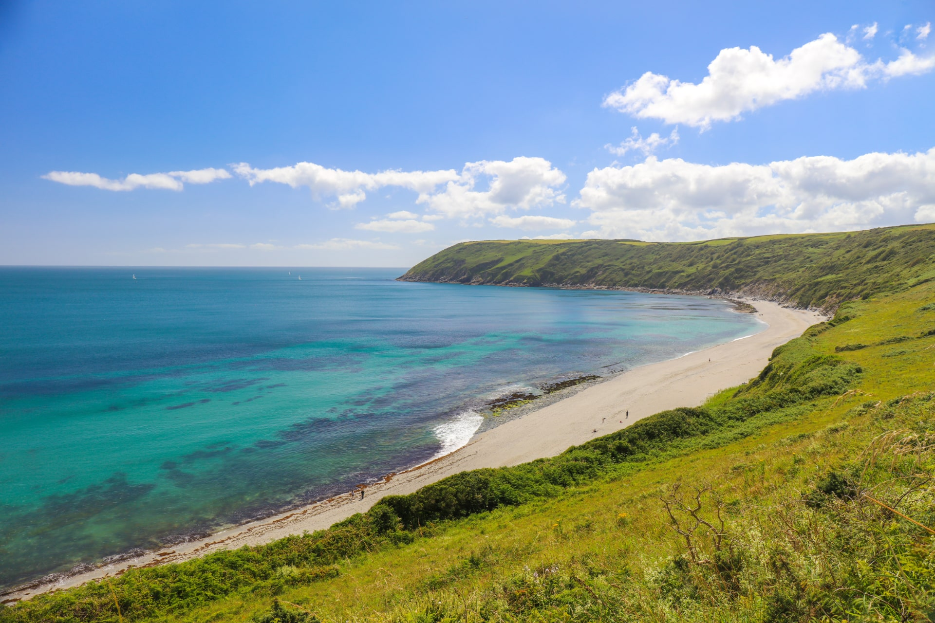 green-cliffs-leading-down-to-white-sandy-beach-and-turquoise-sea-roseland-peninsula