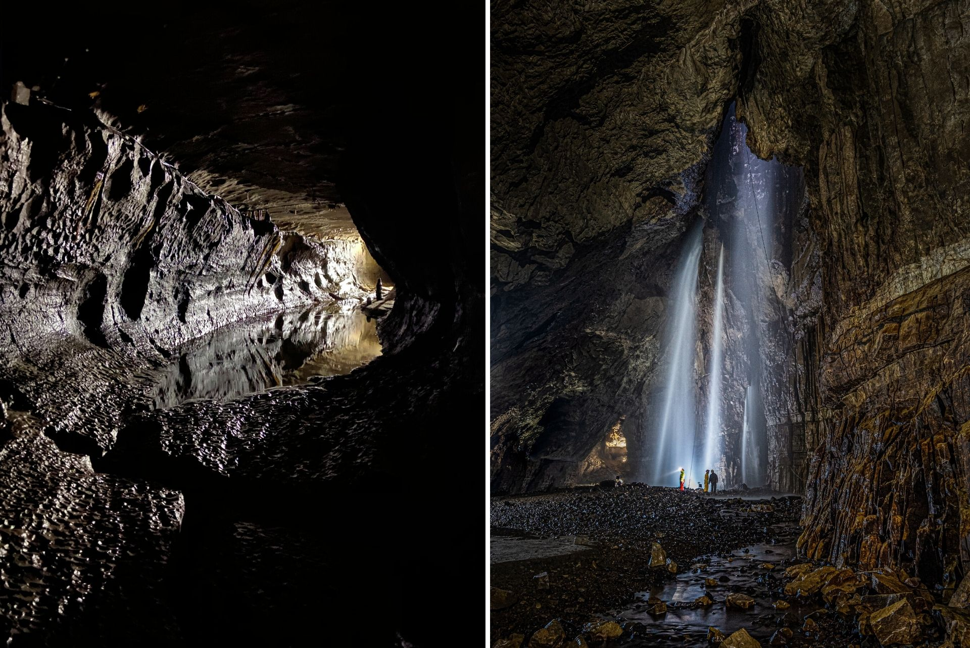 people-standing-inside-dark-caves-looking-up-at-waterfall-ingleborough-caves-and-gaping-gill