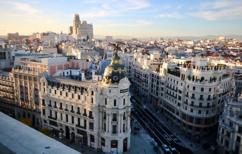 views-of-main-shopping-street-from-rooftop-above-gran-via-madrid-in-2-days-itinerary