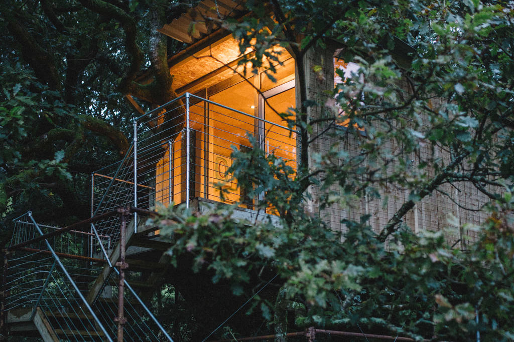 beudy-banc-treehouse-amid-trees-in-the-evening-glamping-snowdonia