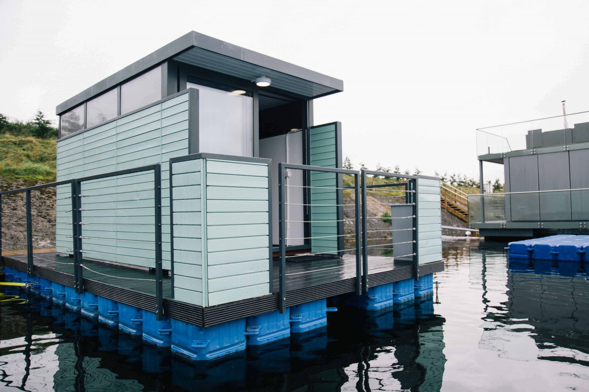 mint-lake-pod-raised-above-lake-at-lets-go-hydro-glamping-northern-ireland