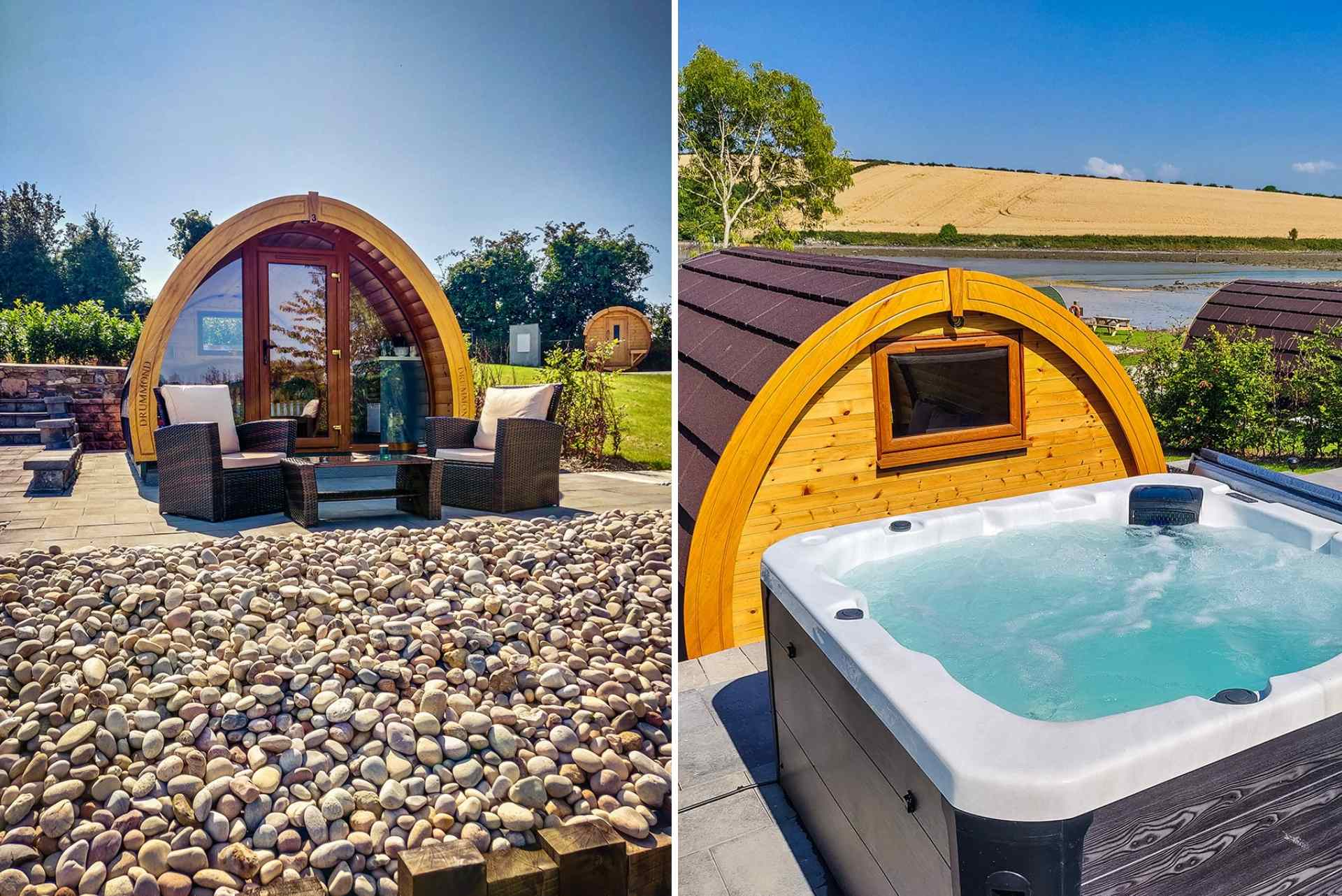 pebble-pods-with-outdoor-hot-tub-and-seating-on-strangford-lough