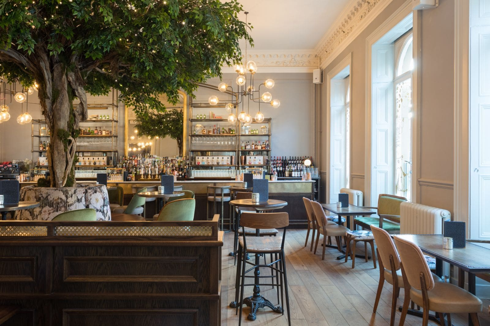 elegant-bar-and-restaurant-with-fake-trees-the-lost-and-found-bottomless-brunch-leeds