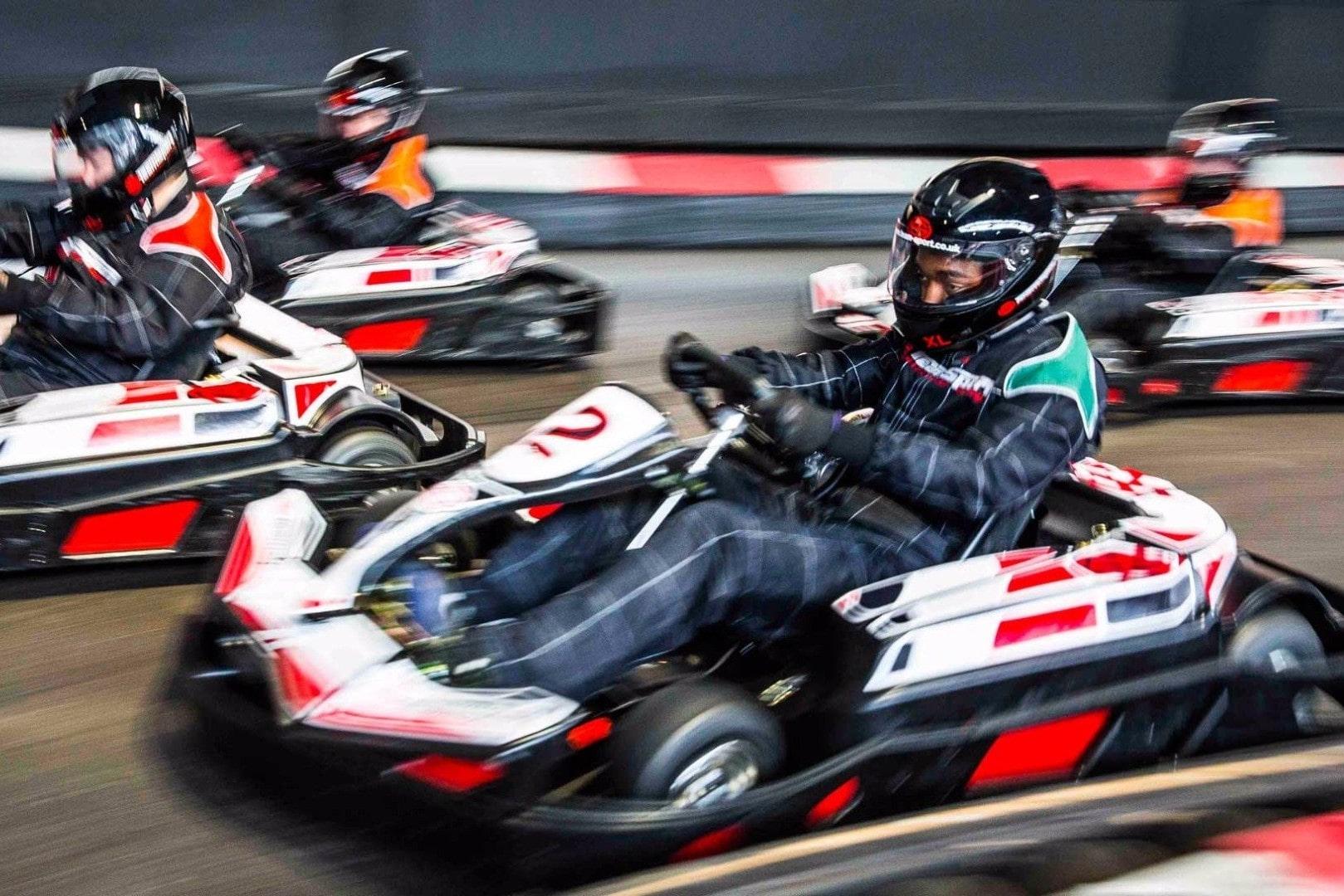 four-people-go-karting-at-teamsport-karting-indoor-activities-southampton