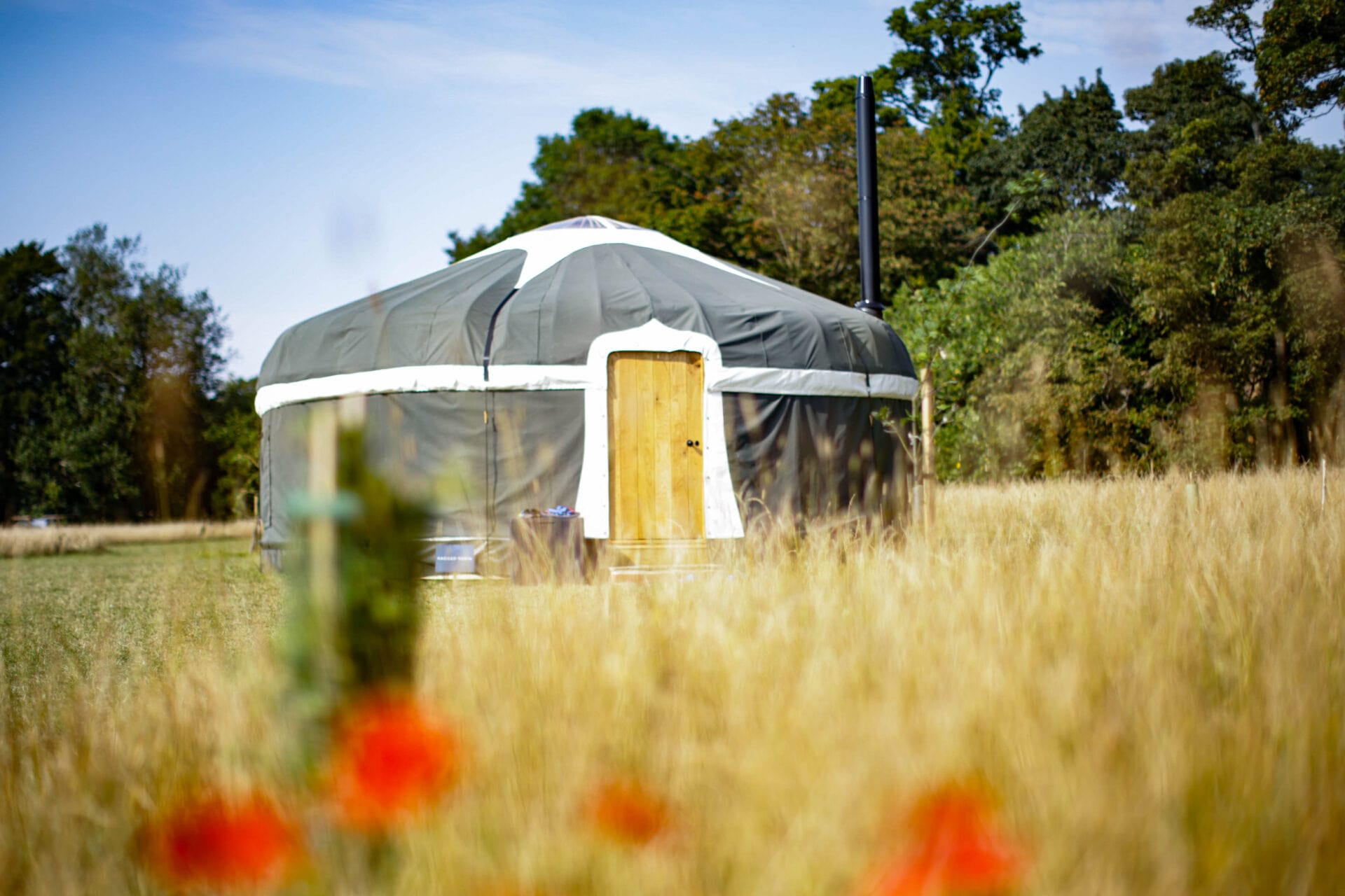 grey-yurt-in-long-grass-field-in-summer-at-wild-meadow-raynham-estate