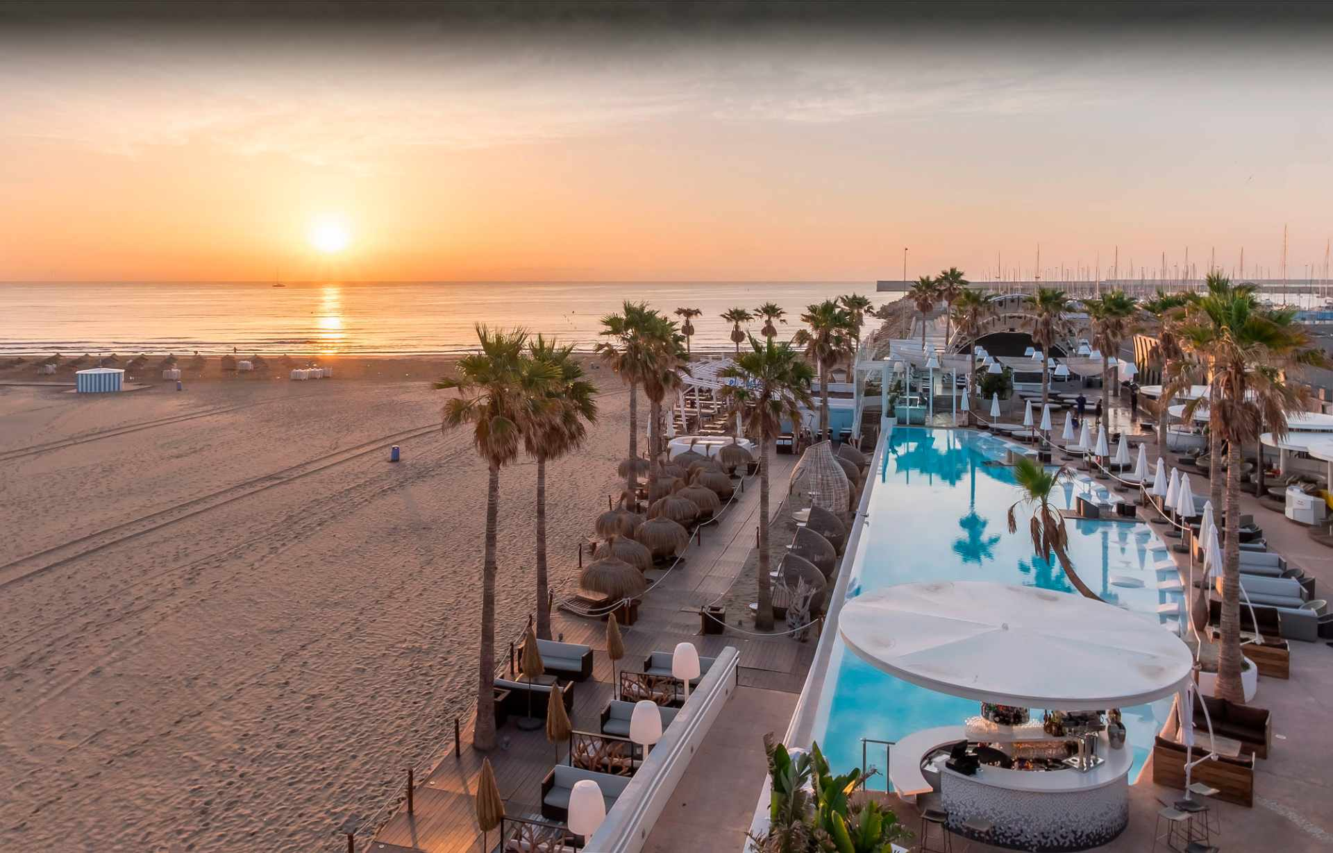 marina-beach-club-with-pool-at-sunset-2-days-in-valencia-itinerary