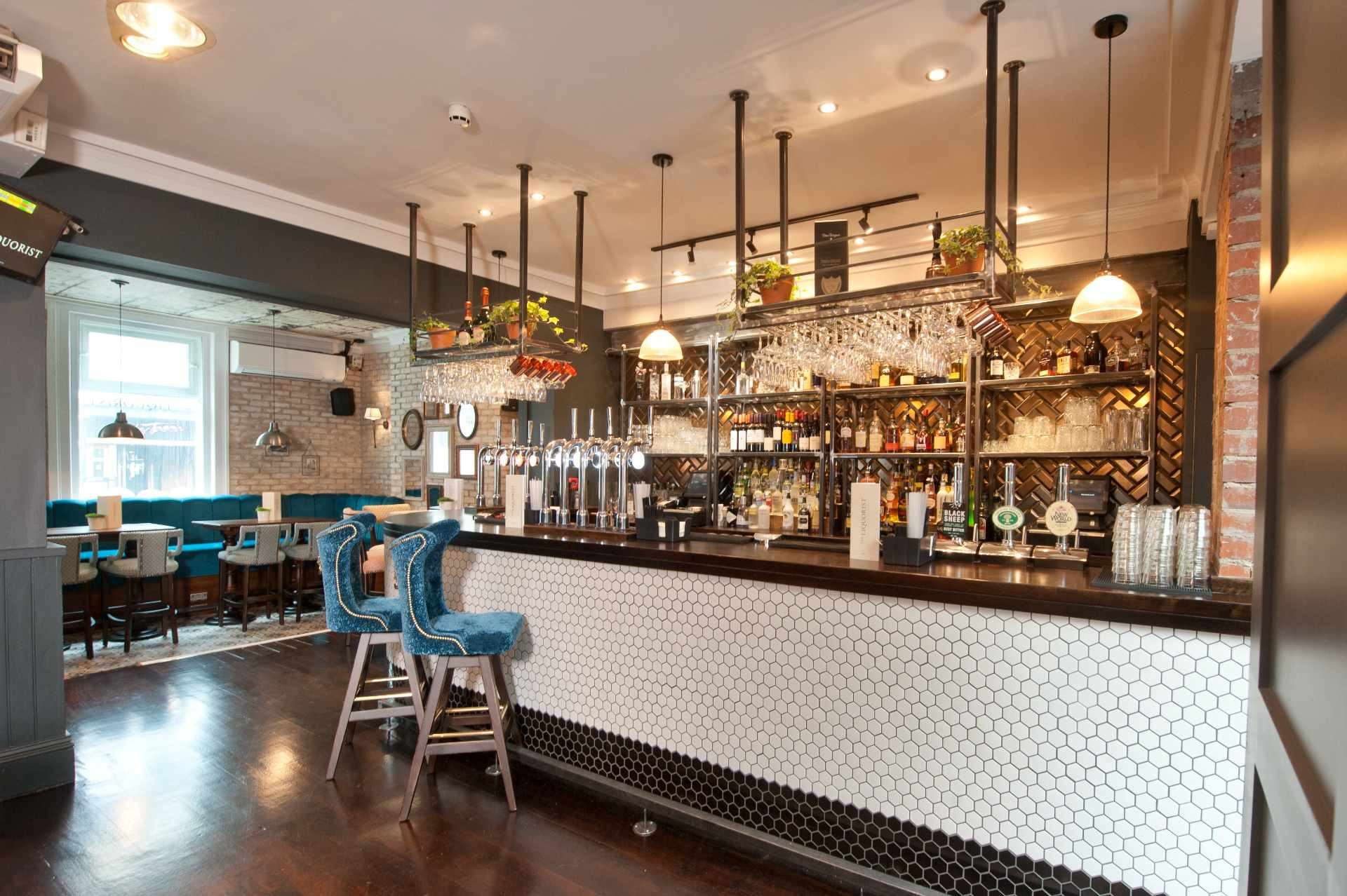 modern-bar-with-blue-stools-at-the-liquorist-bottomless-brunch-leeds