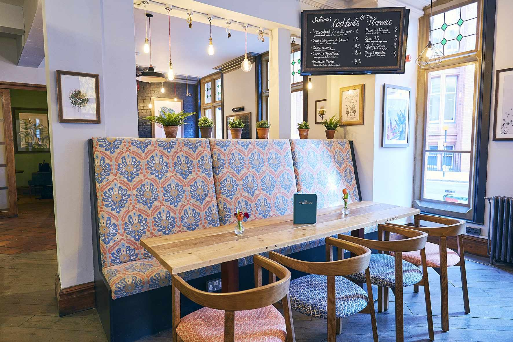 table-chairs-and-bench-in-restaurant-the-florence-bottomless-brunch-birmingham