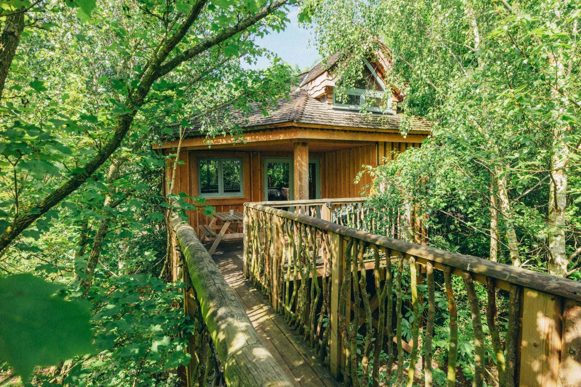 wooden-walkway-leading-to-tilla-quercus-west-lexham-treehouse-within-the-trees-glamping-norfolk